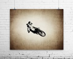 Freestyle Motocross Tabletop Jump on Vintage Wall by shawnstpeter