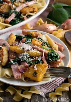 Smoked Ham with Butternut Squash over Noodles - A delicious, smoky complete meal-in-one! Your family will love this dish!