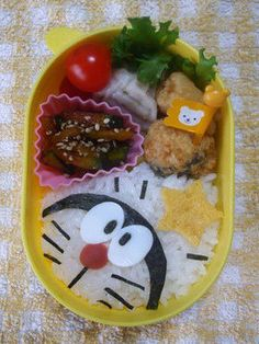 ドラえもん Dorarmon Bento Lunch Box Ideas Bento And Co, Bento Box Lunch, Japanese Lunch Box, Japanese Food, Bento Recipes, Baby Food Recipes, Anime Bento, Kawaii Bento, Kids Menu
