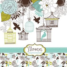 14 Flower Designs, digital paper and a floral border - Clipart for scrapbooking, wedding invitations, Personal and Small Commercial Use.. $4.99, via Etsy.