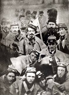 "This image is one of the most misidentified photographs published about the Civil War. Usually referred to as 'young Confederates off to war' it actually shows members of Company A, First Virginia Infantry, the ""Richmond Grays,"" at John Brown's execution in 1859. The Valentine Museum"