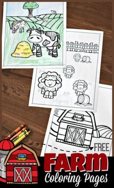 FREE Farm Coloring Pages - super cute, simple coloring sheets perfect for toddler, preschool, kinder Kindergarten Coloring Pages, Farm Animal Coloring Pages, Spring Coloring Pages, Dinosaur Coloring Pages, Cool Coloring Pages, Preschool Kindergarten, Toddler Preschool, Preschool Ideas, Preschool Farm Crafts