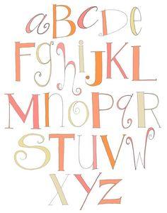 Alphabet (Pink and Orange) 11x14 Limited Edition Print
