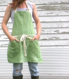 Rustic Utility Full Hand Dyed Sea Foam Green Full Apron for Him or Her via Etsy