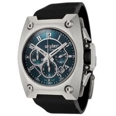 Wyler Geneve Men's 100.4.00.PE1.RBA Code R Collection Automatic Chronograph Black Rubber Strap Watch