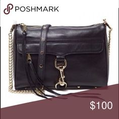 """Mini Mac by Rebecca Minkoff Pre-loved Leather exterior with jacquard fabric lining.   Zip top closure with leather pull.  Exterior zipper pocket with dog leash clasp closure and leather pull.  Bottom rivet detail.  Interior slit and zip pockets.   Measures approx 9"""" W x 6.5"""" H x 1.5"""" D.  Detachable shoulder straps with gold stud details Rebecca Minkoff Bags"""