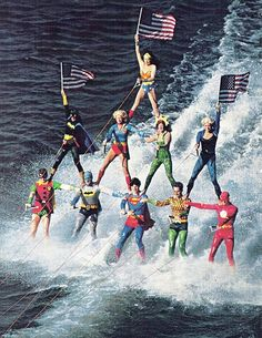 Super-heroes waterskiing, everything about this is right