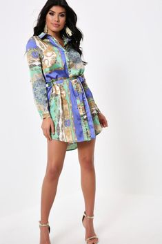 ef97b925f4 Green Print Tie Waist Shirt Dress