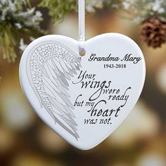 Buy personalized memorial Christmas ornaments with our angel wings design & add any photo & text. Memorial Ornaments, Personalized Christmas Ornaments, Memorial Jewelry, Memorial Gifts, Memorial Ideas, Heart Ornament, Angel Ornaments, Cardinal Ornaments, Christmas In Heaven