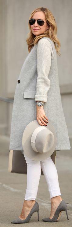 Grey Sleeveless Long Line Blazer by Brooklyn Blonde