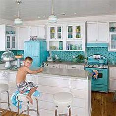 White kitchen with retro appliances -L