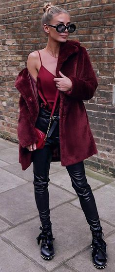 how to wear leather pants : silk top maroon coat boots bag