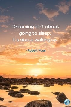 Dreaming isn't about going to sleep. It's about waking up. - Robert Moss