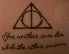 Deathly Hallows and the prophecy. It was done at Brew City Tattoo by Brian.