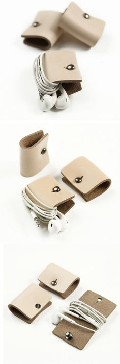 Leather Earphone Headphone Organizer with Snap /MillionBag