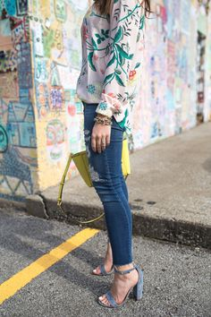 LOFT Pink Floral Top via Glitter & Gingham // LOFT Top, Henri Bendel Bag, Distressed Denim, Steve Madden Sandals // Spring Style // How to wear distressed jeans