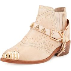 Ivy Kirzhner Santa Fe Embellished Ankle Boot ($425) ❤ liked on Polyvore featuring shoes, boots, ankle booties, ankle boots, brown, brown leather booties, flat booties, brown leather bootie and high heel ankle boots