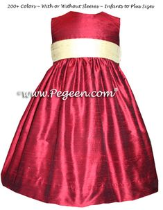 Claret red and buttercreme yellow custom flower girl dresses Red Flower Girl Dresses, Girls Dresses, Custom Dresses, Silk Flowers, Hot Pink, Fashion Dresses, My Style, Wedding Ideas, Outfits