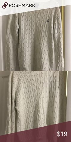 Cable Knit POLO Ralph Lauren Sweater Stylish & preppy cable knit sweater in cream color. Due to fabrics nature, the sweater can comfortably stretch to a larger size if needed. Will accept any reasonable offers. Polo by Ralph Lauren Sweaters