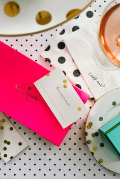 "Kate Spade ""Call me"" napkin.  Love this idea!"