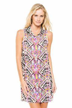 Mara Hoffman Women's Jungle Trip Shirt Dress Swim Cover Up Black L  -Click image twice for more info  - see a large selection  of  shirt  dresses at http://azdresses.com/category/dress-categories/dresses-by-type/shirt-dress/ -  women, womens fashion, dress, womens dresses, shirt dress , sumer, wear to work, casual dress .« AZdresses.com