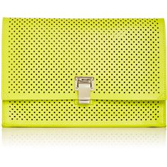 Proenza Schouler Yellow Perforated Leather Small Lunch Bag Clutch ($840) ❤ liked on Polyvore featuring bags, handbags, clutches, perforated leather purse, neon yellow purse, yellow clutches, genuine leather purse and perforated leather handbag