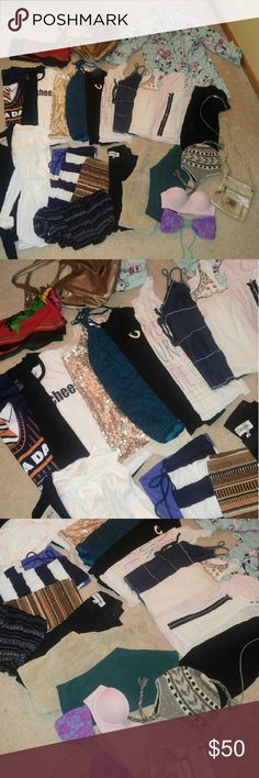 HUGE CLOTHING BUNDLE! HUGE 27 pc clothing and accessory bundle. All sizes but will all fit an xs-m. Includes: bikini tops, purses, leggings, tees, tanks, crop tops, a robe, a floral scarf, button ups, tan courderoy, jeans a winter hat, a maxi skirt and a body con skirt. All are in good used condition. Some are brand new. Most of these are already listed so to see an item more in depth, view the listing. This is a great deal for the price!!! (: I will also throw some extras in (; Forever 21…