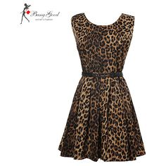 Sexy Women's Leopard Print Sleeveless One-piece Dress With Belt ❤ liked on Polyvore