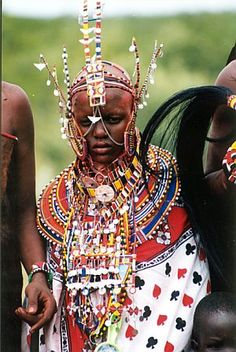 Kenya, a Maasia bride in traditional dress.