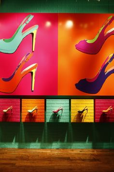 This is a very colourful and eclectic display window for shoe store. Very creative and modern and the bright colors kind of draw the eye to the store. Shoe Display, Visual Display, Display Design, Design Shop, Visual Merchandising, Illustration Simple, Shoe Store Design, Vitrine Design, Store Interiors