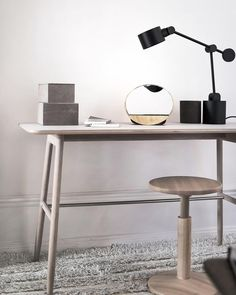 Massproductions - Icha Desk in White Oiled Oak. Scandinavian furniture in a modernist spirit.