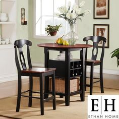 ETHAN HOME Rwanda Black and Cherry 3-piece Bistro Set