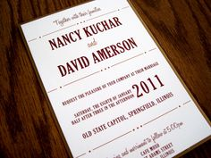 Unique wedding invitation inspired by a playbill - this time in wine and gold.