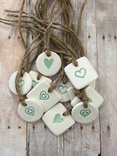 Wedding favor Heart ceramic gift tags by BumblebeeHomebyBCH Ceramic Pendant, Ceramic Jewelry, Ceramic Clay, Clay Jewelry, Ceramic Pottery, Diy Clay, Clay Crafts, Clay Ornaments, Air Dry Clay