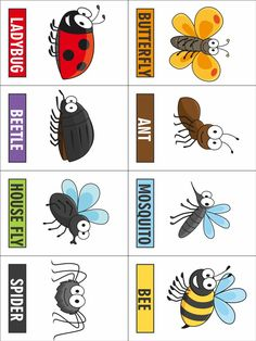 Our Printable Bug Game can be used to play a game of Concentration or Go Catch A Bug.s a fun variation on some old favorites. Free Preschool, Preschool Crafts, Toddler Activities, Preschool Activities, Crafts For Kids, Preschool Colors, Spring Activities, Therapy Activities, Insect Crafts