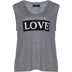 Carmakoma Grey / Mottled Plus Size Jersey 'Love' T-shirt found on Polyvore