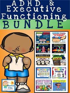 Bundle includes all Mental Fills' ADHD and Executive Functioning products: 1. ADHD Goal Planner 2. ADHD Homework Planner 3. Self-Control Game 4. Attention & Organization and Planning Game 5. Black or White Thinking activity 6. How to Escape Mindset Jail- Flip book 7.