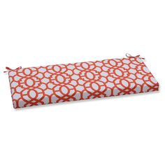 Pillow Perfect Outdoor/ Indoor Nunu Geo Bench Cushion - Orange, White