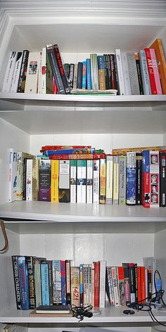 Ok... here are the rest of the shelves. Go be as nosey as you want! :D They are two tiered but I'm not prepared to dig out the books at the back!! I'm messy enough as it is...     Read some intering Novels and books from at a bargain.  http://www.jeelis.com/Books