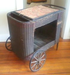 Antique Wicker Tea Cart w/removable tray