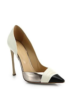 Sergio Rossi Pliss Tri-Tone Leather Pumps