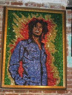 Glitter Art Bob Marley Glitter Art, Bob Marley, Black Art, Artwork, Painting, Buttons, Work Of Art, Auguste Rodin Artwork, Painting Art