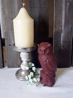 Owl figurine red rustic vintage chic Ready to Ship - pinned by pin4etsy.com