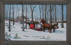 maple syrup art prints - Bing Images Farm Paintings, Country Paintings, Wet On Wet Painting, Sugar Bush, Sugaring, Winter Scenes, Maple Syrup, Home Art, Bing Images