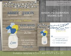 Mason Jar Wedding Invitation Rustic Mason Jar by NotedOccasions
