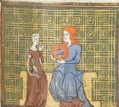 Vieille Gives Bel Acueil the Crown of Flowers, Le Roman de la Rose, University of Chicago Library MS 1380, fol 81r, c. 1365