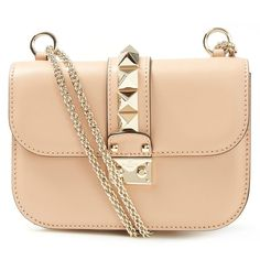 Valentino Small Beige Rockstud Shoulder Bag ($1,765) ❤ liked on Polyvore featuring bags, handbags, shoulder bags, foldable tote, foldover tote, tote shoulder bag, leather shoulder bag and leather handbags