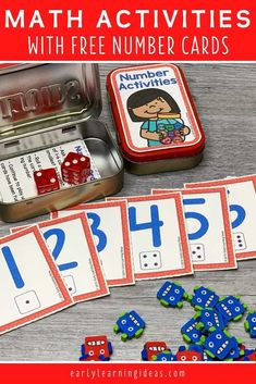 Add these free printable 1-12 number cards, counters, & dice to an Altoids tin or soap container to create fun math activities for your classroom. Perfect for preschool or pre-k, or at home learning. You can use the printables with your kids for a variety of math learning & counting activities. Ideas for learning games and activities are included. Use for your math centers and stations, as a take-home activity, as a screen-free activity at restaurants, or as a student gift. Preschool Activities At Home, Learning Games For Kids, Counting Activities, Preschool Math, Literacy Activities, Number Activities, Early Learning, Baby Activities, Kindergarten Math