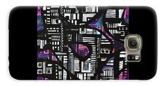 A Square Abstract Overflowing With Geometric's Decorating The Black Outlined Snakelike Structure .surrounded By Colored Background.contemporary Galaxy S6 Case featuring the painting Unexpected Transport by Expressionistart studio Priscilla Batzell