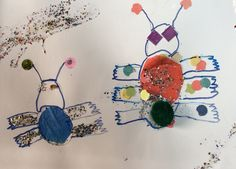 Glitter bugs, drawing with collage.